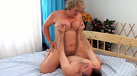 Obese granny with colossal boobs rides..