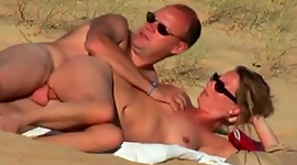 Amateur nudists fuck dirty on a beach..