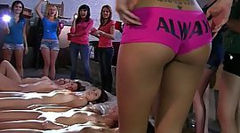 Lesbian college beauties in a warehouse