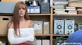 Red haired shoplifting chick Scarlett..