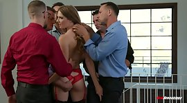 Doxy in red sensuous underclothes and..