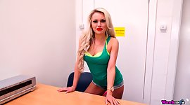 Sexy busty secretary Ashley Jay pulls..