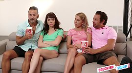 Two horny dads shift stepdaughter for..