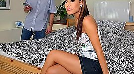 Perfect charming Czech adolescent pays..