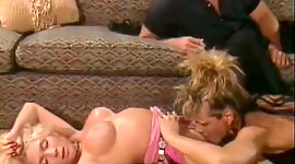 Buxom natural blonde doxy spins on the..
