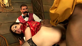 White cuckold hubby just watches the..