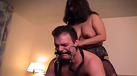 Gagged passive partner dude bends..